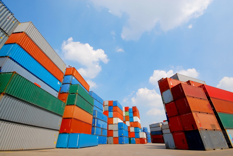 freight containers at the docks ready for shipping